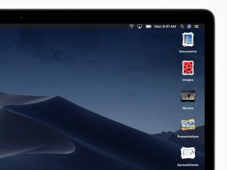 Haufen auf dem Desktop von macOS Mojave