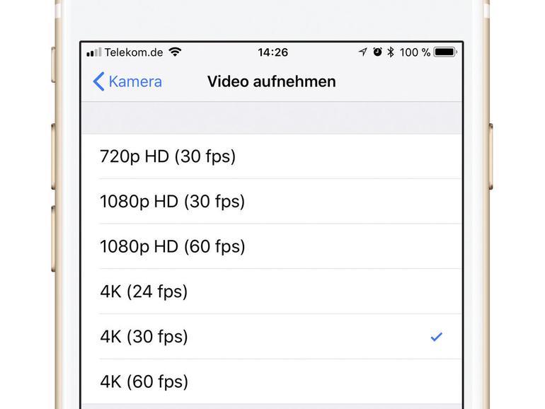 Aktivieren Sie nur bei Bedarf das 4K-Videoformat.