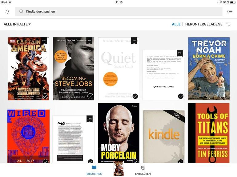 Mit der Kindle-App von Amazon greifen Sie auf Ihre Bibliothek zwar zu – Einkäufe können Sie damit aber nicht tätigen.
