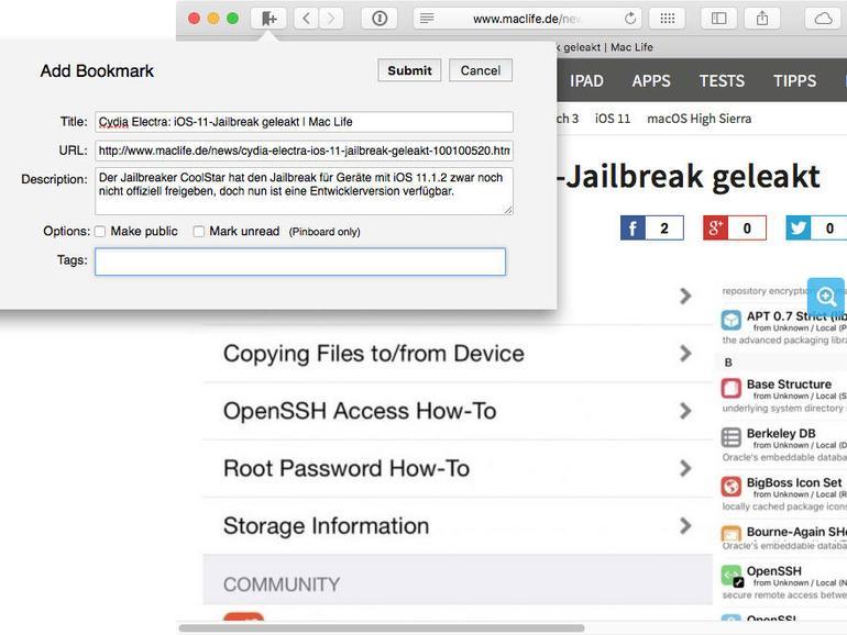 Die Browsererweiterung Cloudmarks erlaubt auch das Stöbern in der Lesezeichensammlung.