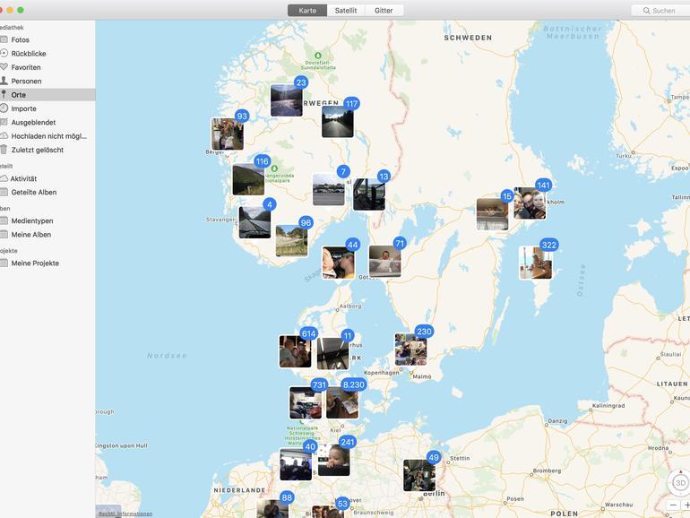 Die Fotos-App kann Ihnen Ihre Bilder auf einer Karte anzeigen, entsprechend der in den Metadaten enthaltenen geografischen Informationen.