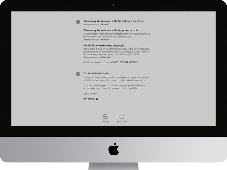 Bei Macs ab Baujahr 2013 ist das Apple-Diagnose-Werkzeug vorinstalliert. Sie starten es beim Einschalten des Rechners mit gedrückter [D]-Taste.