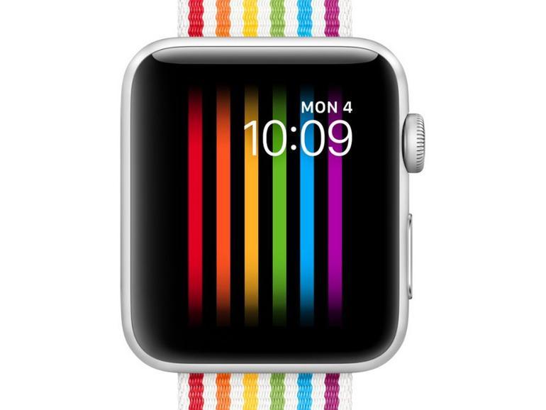 Pride-Armband und Zifferblatt an der Apple Watch