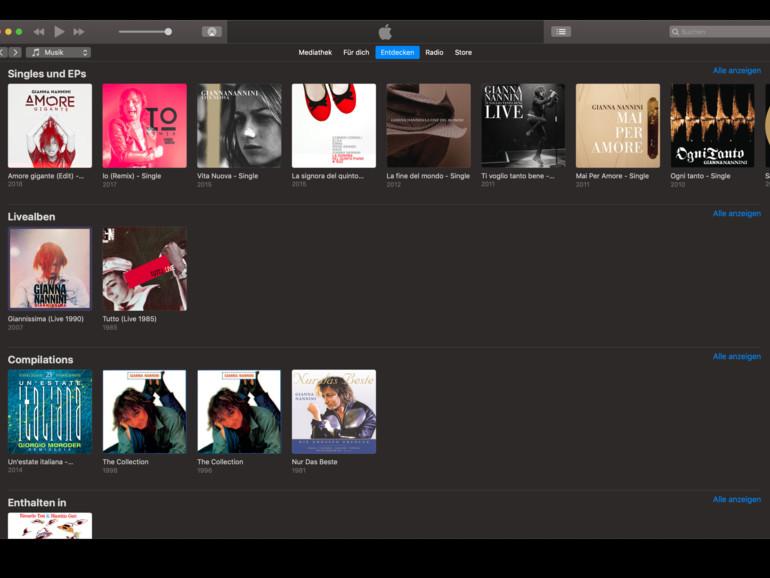 Screenshot aus Apple Music am Mac zeigt Albentrennung am Beispiel von Gianna Nanini