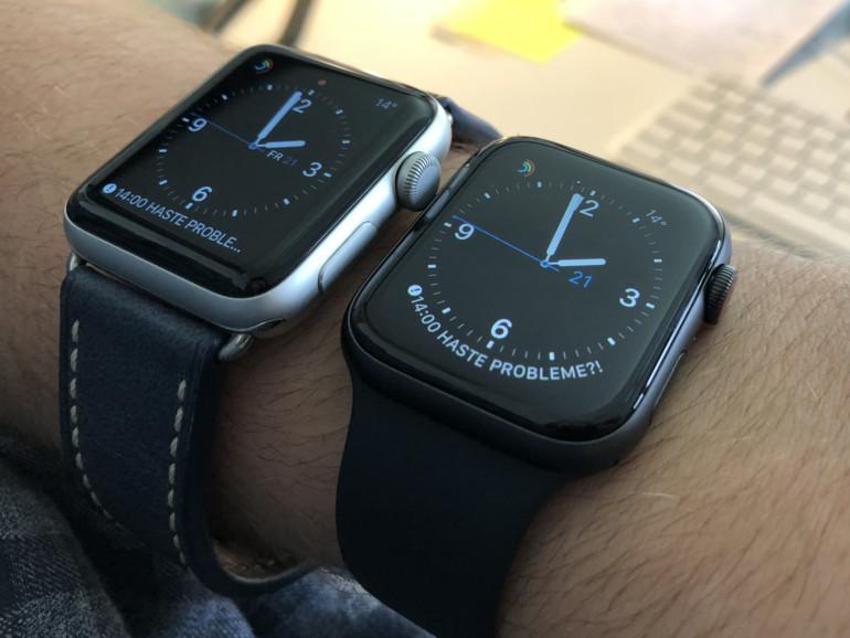 Eine Apple Watch Series 2 neben einer Series 4 – so ähnlich und doch so verschieden