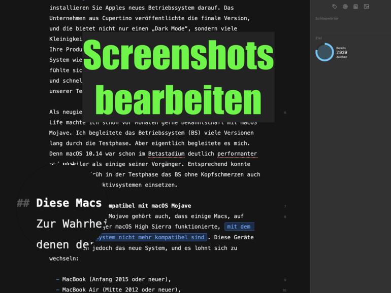 Screenshot unmittelbar nach der Aufnahme absenden