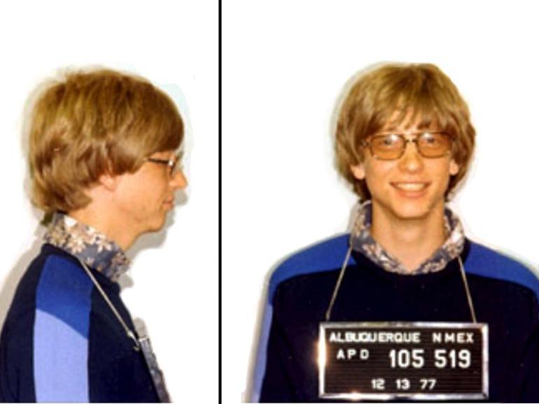 Polizeifoto von Bill Gates (Microsoft) wegen Fahrens ohne Führerschein