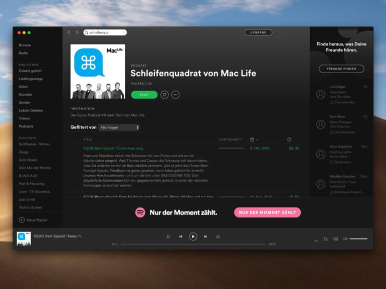 Schleifenquadrat jetzt auch direkt am Mac oder iPhone in der Spotify-App hören