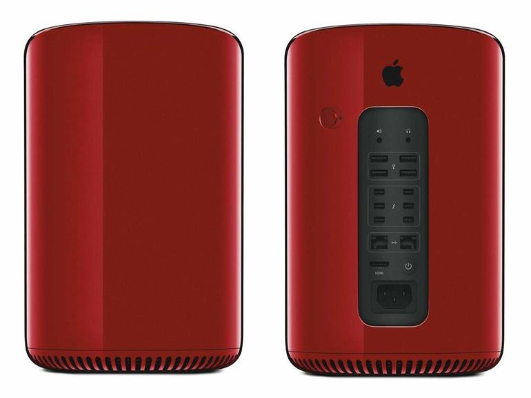 Roter Mac Pro, der im November 2013 zum Preis von 977.000 US-Dollar zugunsten von Product Red versteigert wurde