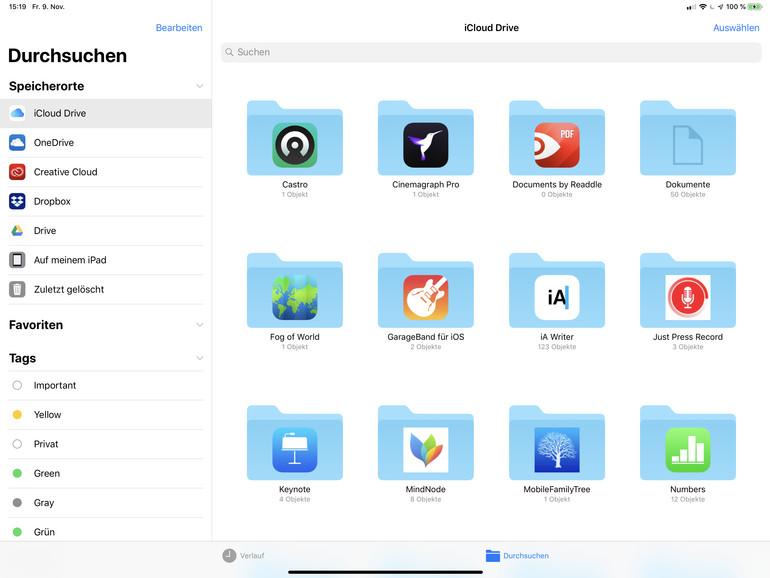 """Größtes Manko: Externe Speichermedien lassen sich nur sehr eingeschränkt mit dem iPad nutzen und tauchen in Apples """"Dateien""""-App überhaupt nicht auf. Das iCloud Drive ist leider auch keine Lösung."""