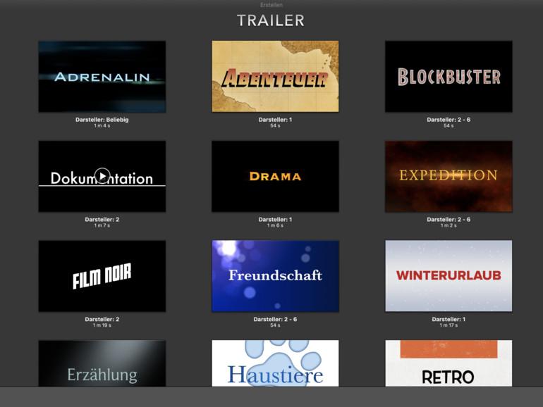 Trailer in iMovie sind wie Dokumentvorlagen in Pages