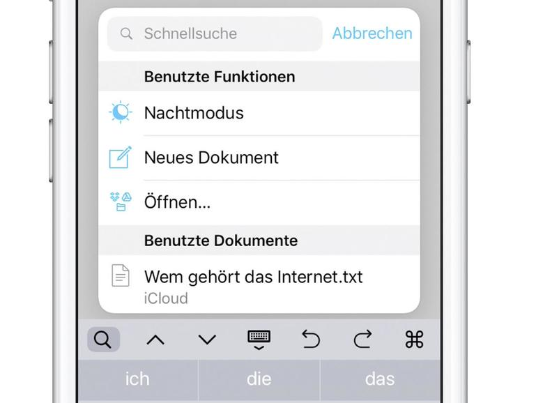 iA Writer auf dem iPhone