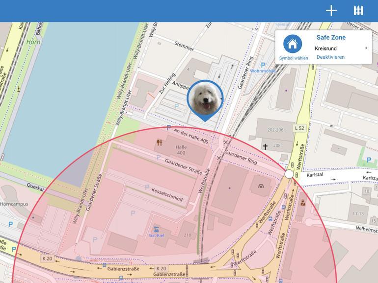 """Verlässt der Hund den digital abgesteckten """"virtuellen Zaun"""", erhalten Sie eine Push-Nachricht auf Ihrem iPhone oder iPad."""