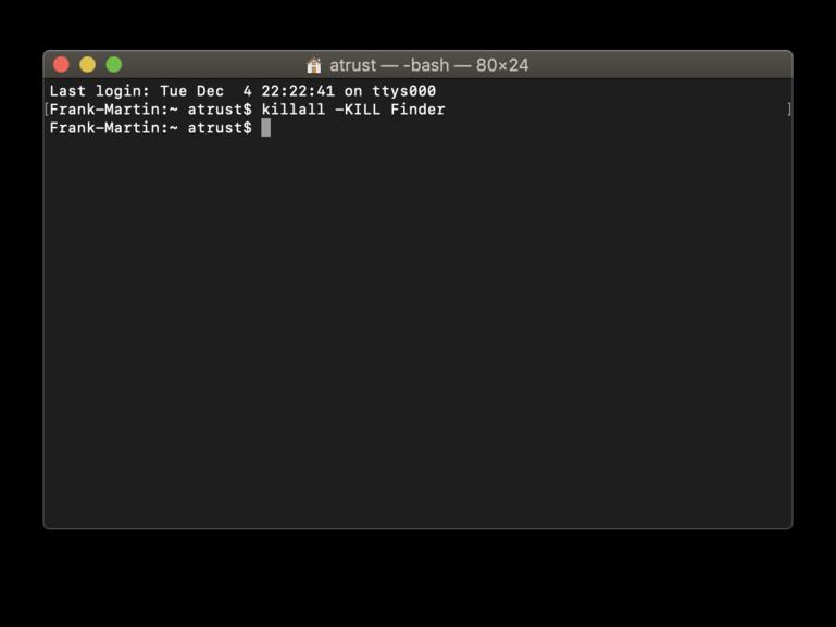 """""""Killen"""" Sie den Mac-Dateimanager im Terminal"""