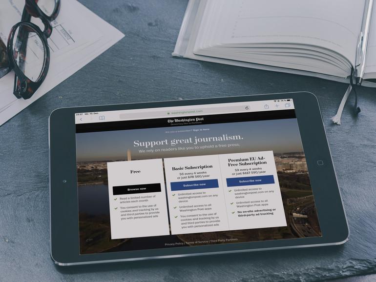 Bezahlschranke der Washington Post auf dem iPad
