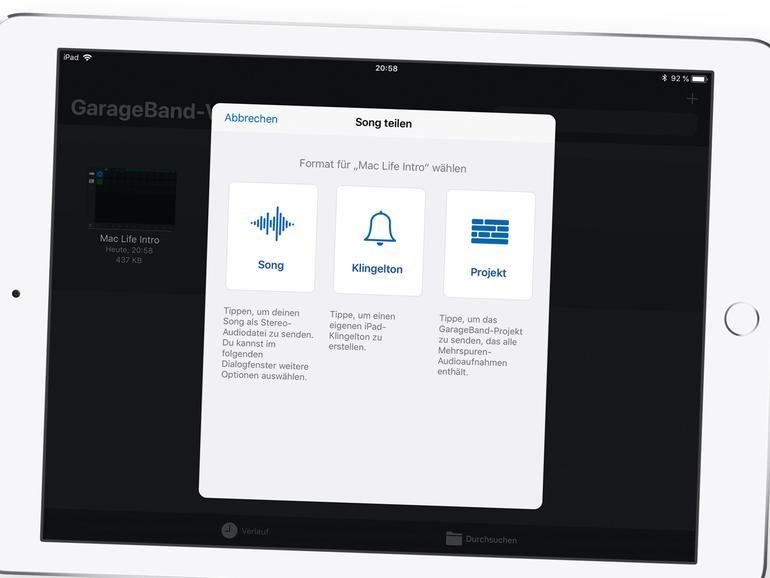 GarageBand auf dem iPad