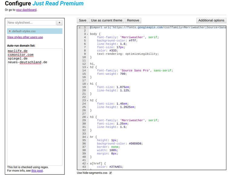 CSS-kundige Nutzer gestalten das Aussehen des Lesemodus von Just Read kurzerhand selbst.