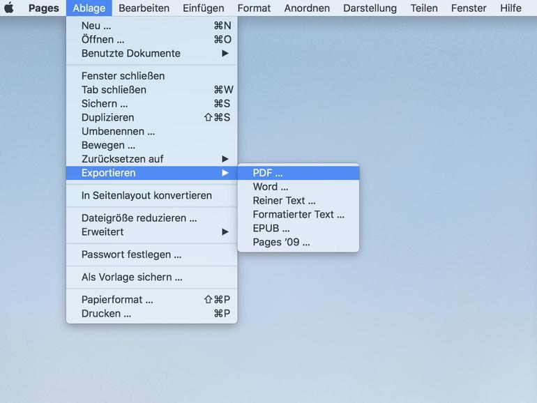 Pages-Dokument als PDF sichern