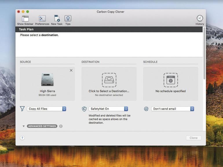 Apps wie Carbon Copy Cloner erzeugen eine exakte Kopie Ihres Mac. Ein einfacher Klon ist ein guter Anfang und es gibt diverse Optionen zur Feinjustierung des Back-ups.