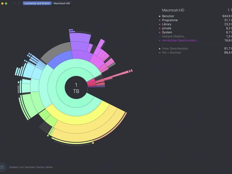 Die App Daisydisk stellt alle Daten auf Ihrem Rechner grafisch ansprechend dar.