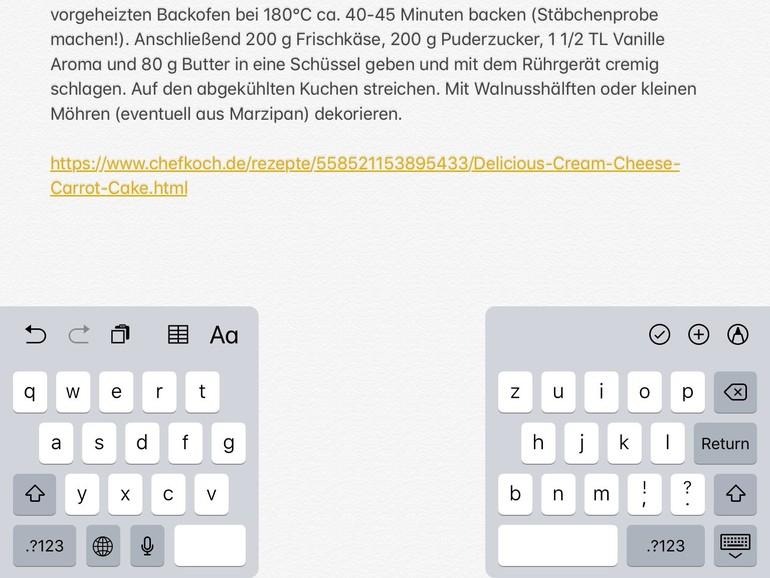 Auf dem iPad kann man eine geteilte Tastatur aktivieren.