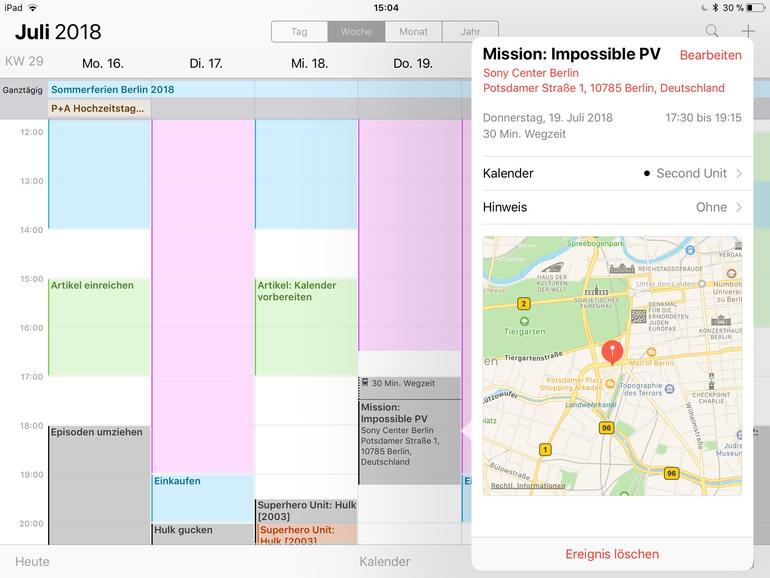 Mit der Angabe von Orten erhalten Sie mittels der Kalender-App nützliche Wegzeiten.
