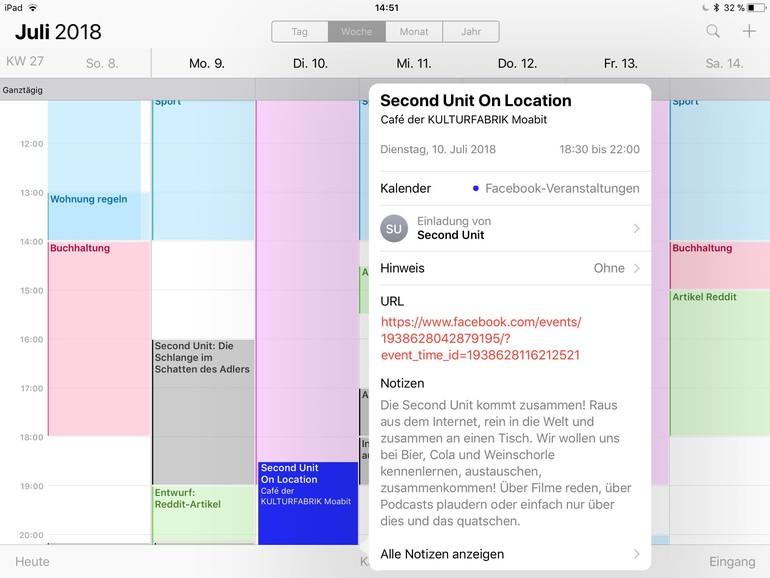 Sie können auch Kalender abonnieren, zum Beispiel die Ereignisse in Ihrem Facebook-Konto.