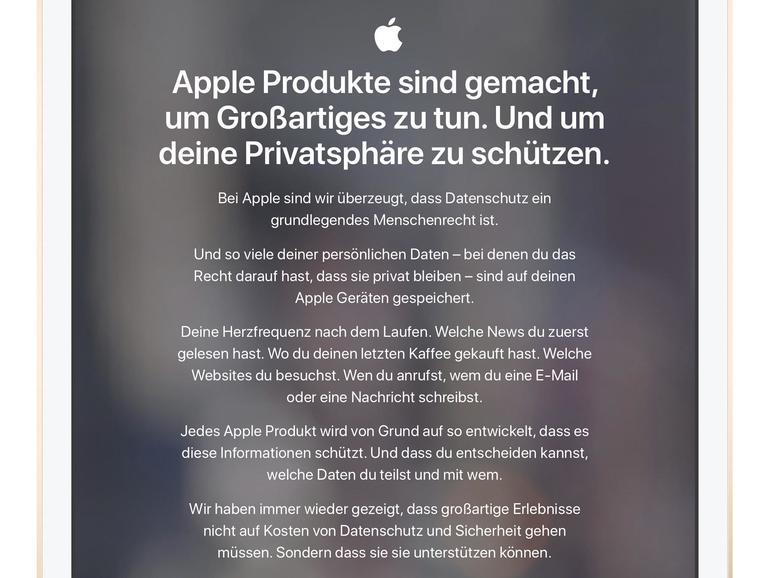 Apples Datenschutz-Webseite ist übersichtlich aufgebaut und vor allem auch lokalisiert.