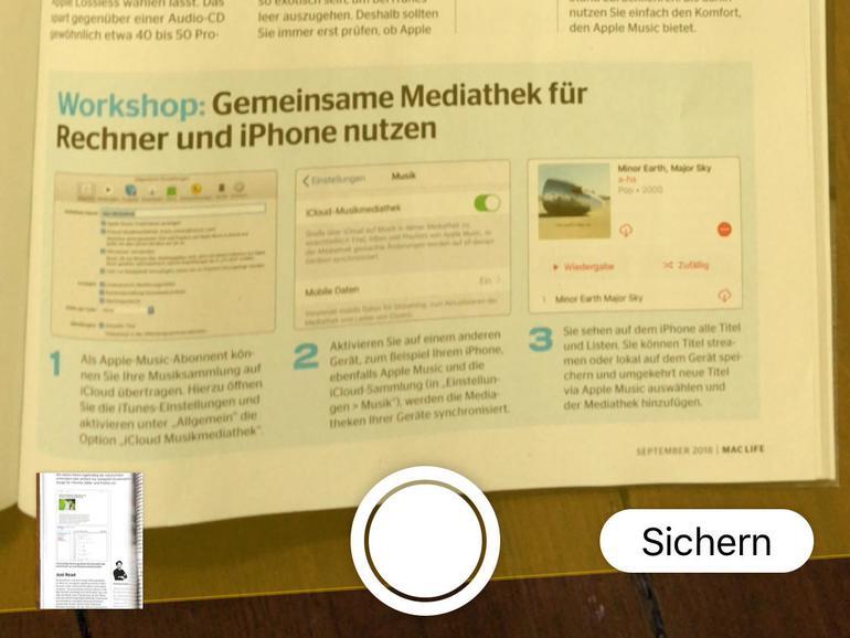 Das Notizen-Programm profitiert vielleicht mehr als andere von der Möglichkeit, die iPhone-Kamera zu borgen und Bilder oder Dokumente direkt einzufügen.