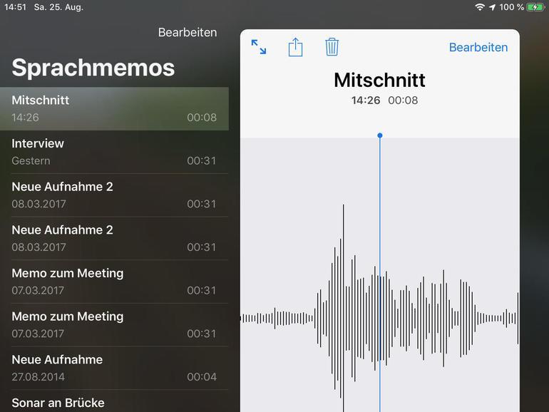 Die iPad-Version kann es sich erlauben, großzügig mit dem Platz auf dem Bildschirm umzugehen. Die Notizen werden per iCloud synchronisiert.