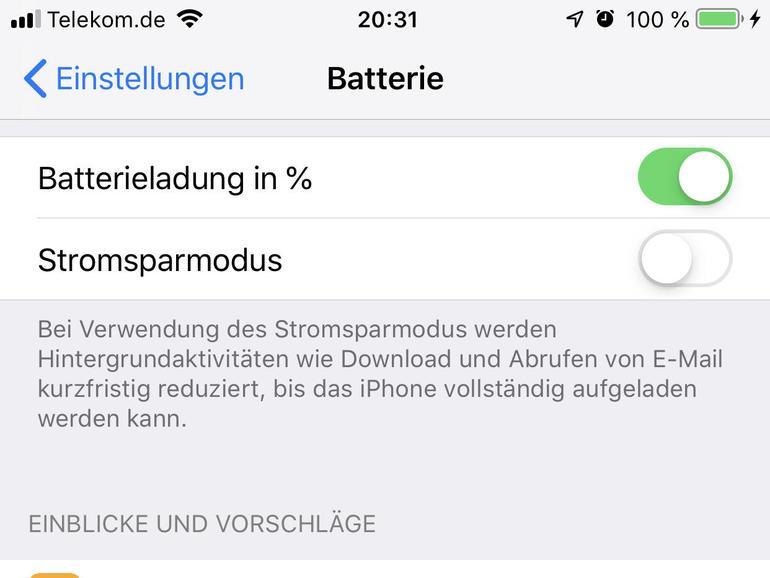 """In """"Batterie"""" können Sie sich den Ladezustand in der Statusleiste in Prozent anzeigen lassen, den Stromsparmodus aktivieren und prüfen, welche App am meisten Strom benötigt."""