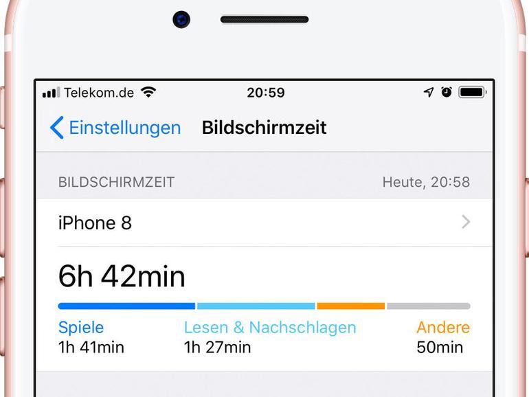 Bildschirmzeit zeigt oben die Nutzungszeit des Tages als Balken, wobei einzelne Kategorien farbig markiert sind. Darunter folgen Limits zur Nutzungsbegrenzung und beim Einsatz in der Familienfreigabe die Kinder.