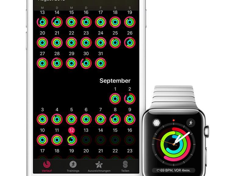 Aktivität: Die Apple Watch erfasst Ihre Daten über den Tag, das iPhone bietet eine langfristige Übersicht.