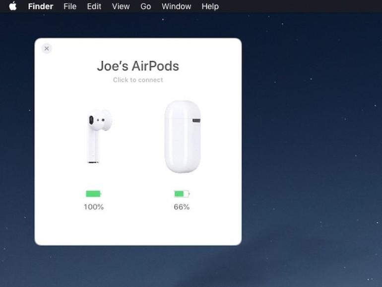 Dialogfenster von AirBuddy zeigt Akkustand von AirPods an