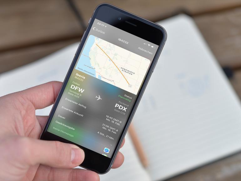 Flugdaten am iPhone abrufen