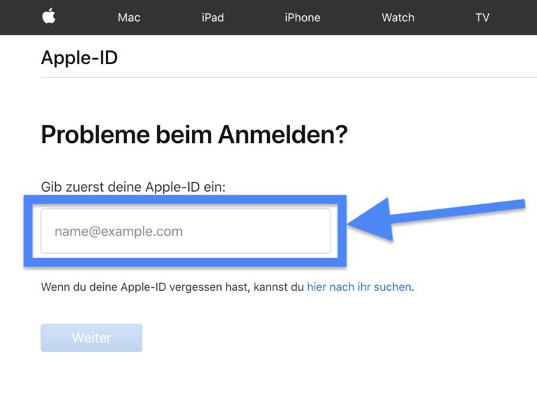 Apple-ID eingeben