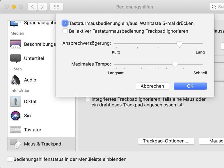 In den Systemeinstellungen können Sie die Belegung der Sondertasten ändern und die Tastaturmaus aktivieren.