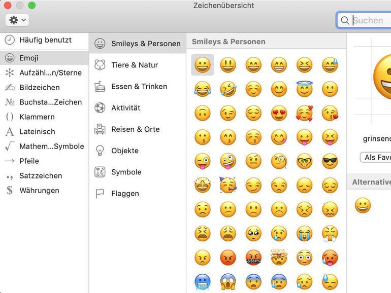 In der Zeichenübersicht findet man alle Sonderzeichen und Emojis.