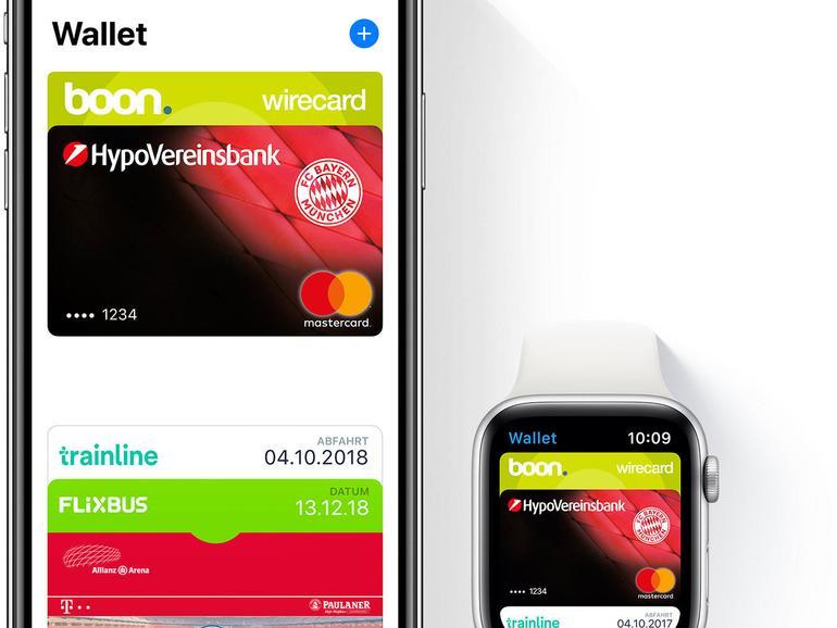 Apples Wallet auch mit Kreditkarten. Banking bedarf hoher Sicherheitsstandards.