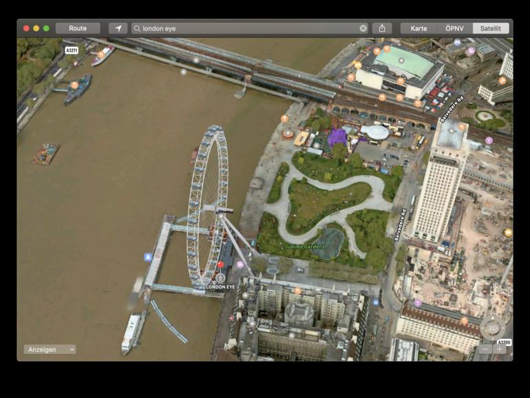London Eye in Apples Karten-App