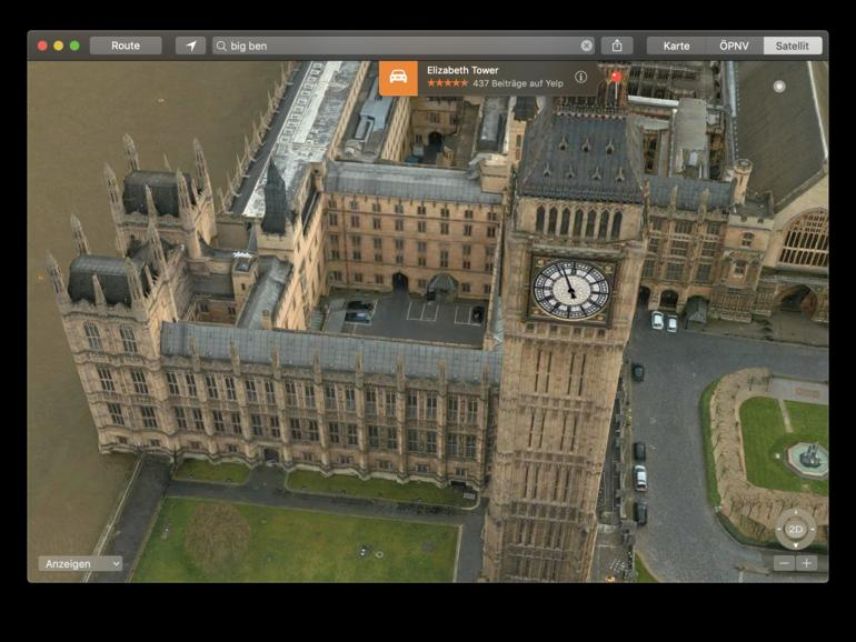 Elizabeth Tower in Apples Karten-App