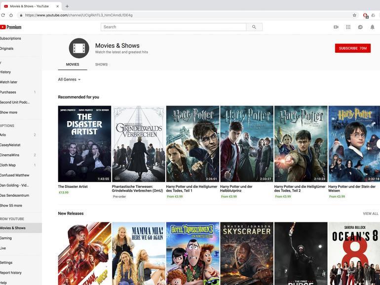 Youtube bietet mittlerweile auch Hollywood-Blockbuster zum Kaufen und Leihen an.