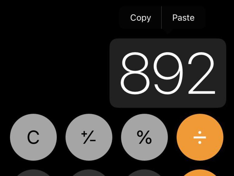 Zahlen im Taschenrechner in die Zwischenablage kopieren
