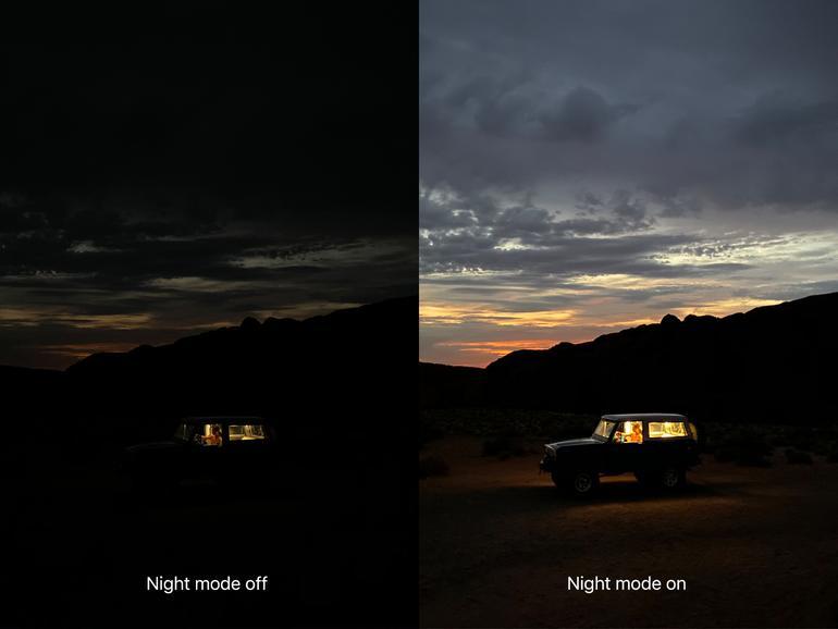 Im wahrsten Wortsinn ein Unterschied wie Tag und Nacht, wenn Aufnahmen am iPhone 11/11 Pro mit dem Nachtmodus gemacht werden
