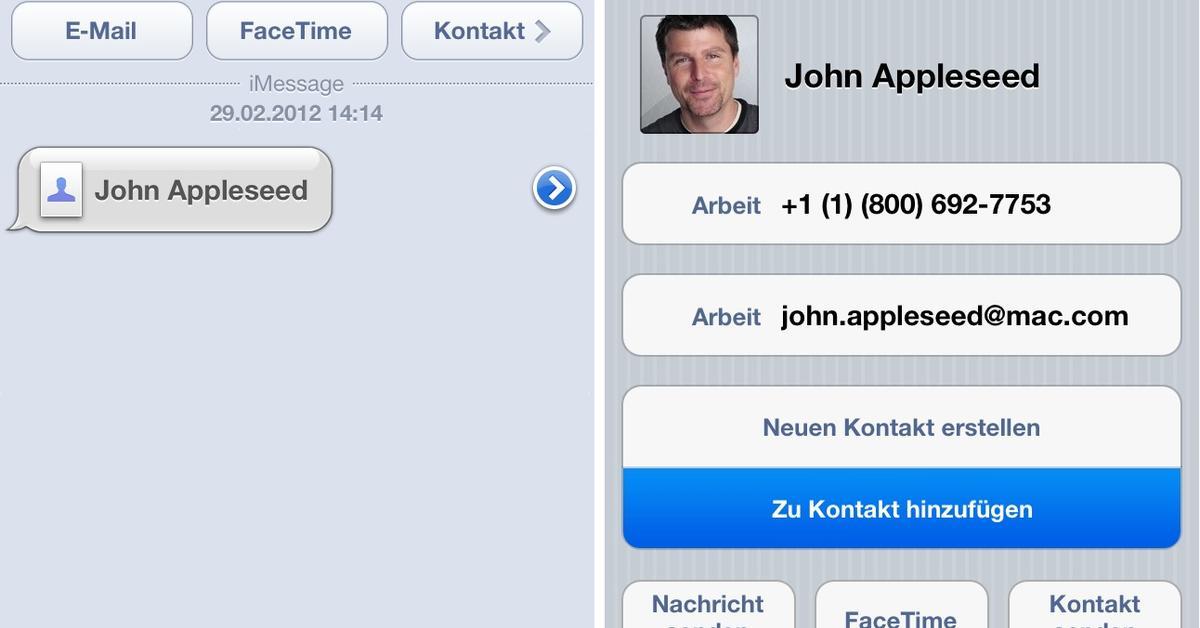ios kontakte senden und zwischen mehreren iphones austauschen mac life. Black Bedroom Furniture Sets. Home Design Ideas