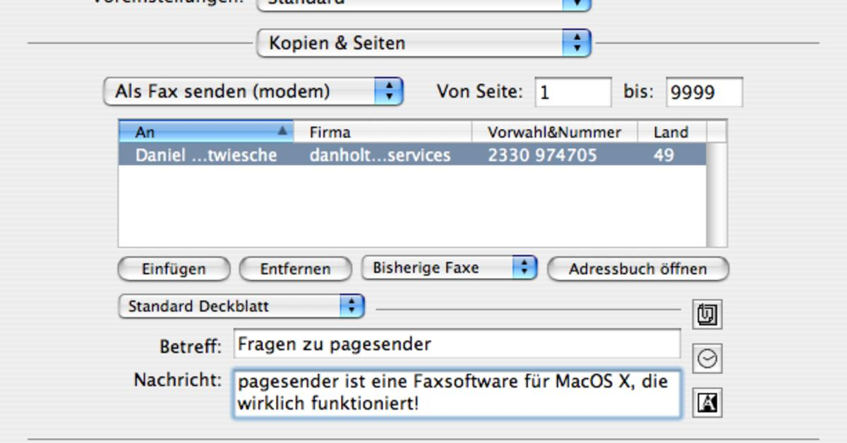 Fax Software PageSender Wird Leopard Kompatibel