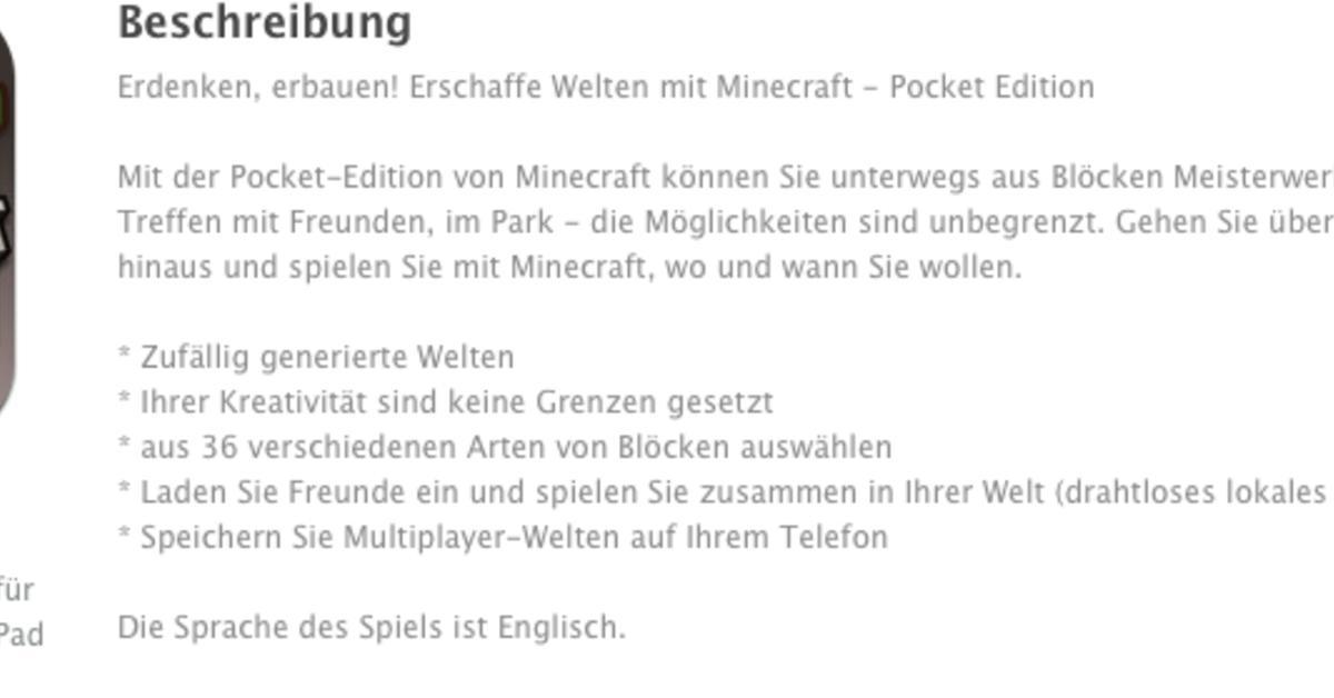 Minecraft Pocket Edition Für IPhone IPad Erschienen Mac Life - Minecraft spiele arten