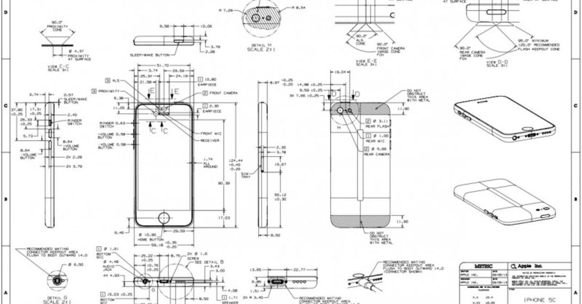 Abmessungen des iPhone 5s und iPhone 5c: Das sind die Blaupausen für ...