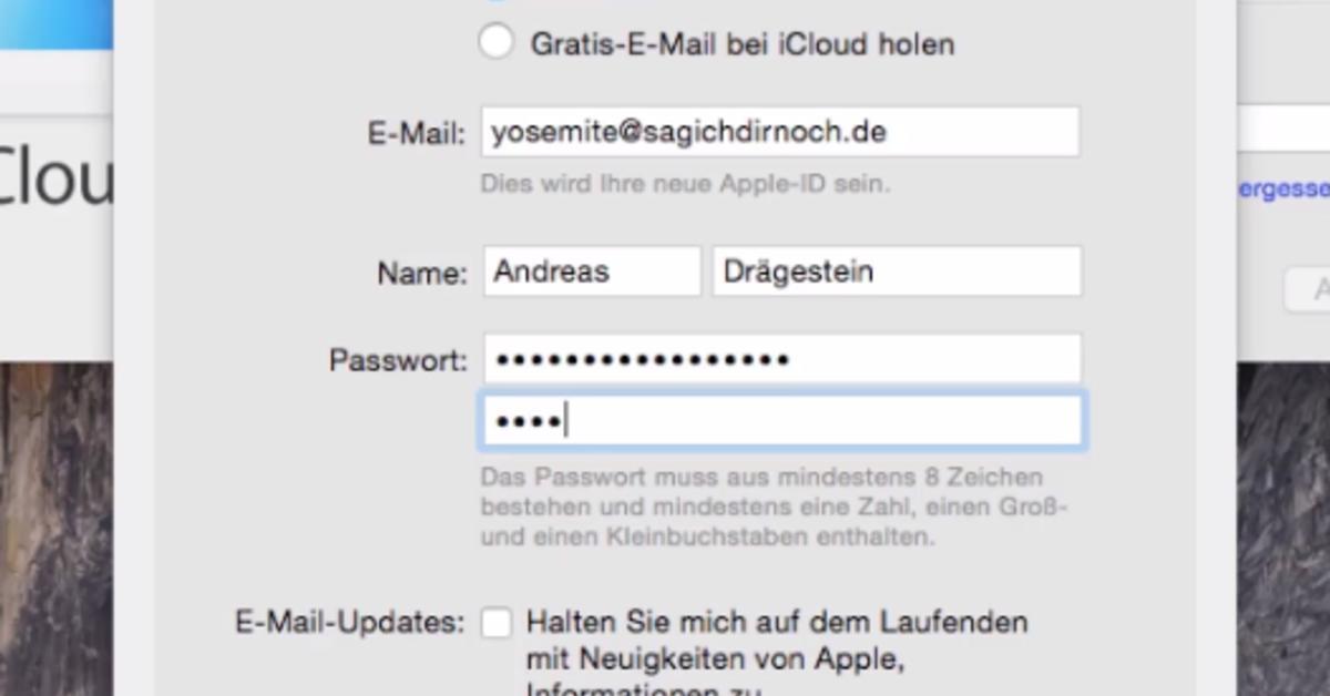 e mail registrieren icloud