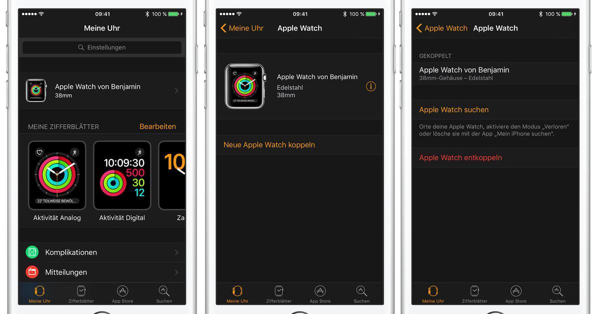 watchos 3 apple watch vom iphone entkoppeln so geht s. Black Bedroom Furniture Sets. Home Design Ideas